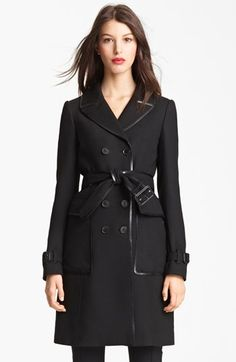 Burberry leather trim trench
