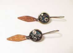 Enameled cluster earring with copper leaf dangle.  Berlyn Designs