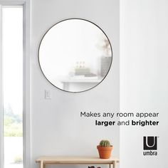 Umbra Hubba Wall Mirror | Shop Modern Round Mirrors Large Round Wall Mirror, Circular Mirror, Round Mirrors, Bedroom Crafts, Mirror Shop, Making Space, Bathroom Wall Decor, Interior Inspiration, Things That Bounce