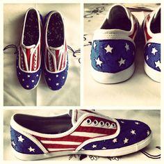 DIY American flag sneakers