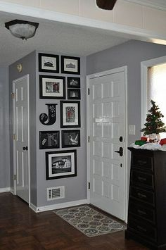 Love this color for the kitchen. Entryway idea - add a V in somewhere and keep frames conisistent on one of the walls