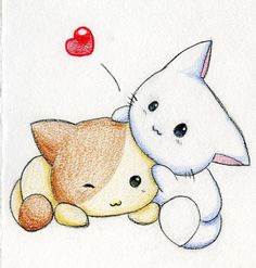 1001 easy ideas to make a cute kawaii drawing for beginners Chat Kawaii, Arte Do Kawaii, Anime Kawaii, Kawaii Cute, Pencil Art Drawings, Easy Drawings, Anime Animals, Cute Animals, Elephant Illustration
