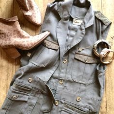 """SHE Safari vest NWT SHE Safari traditional vest. This is an actual upland bird/safari hunting vest, but I always had visions of wearing it with boots and leggings... which never happened. Fits XS/S, 27"""" from shoulder to bottom hem. Dark olive 100% cotton canvas w/ suede details on pocket flaps and shoulders. Super cute!❌No trades, holds, or PayPal, but I'm always down for a good offer or bundle!❌ Thanks for looking!  SHE Safari Other"""