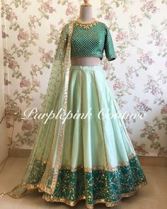 Mint Green Raw Silk Lehenga with Teal Green Choli. Party Wear Indian Dresses, Indian Fashion Dresses, Indian Wedding Wear, Designer Party Wear Dresses, Indian Bridal Outfits, Indian Gowns Dresses, Party Wear Lehenga, Dress Indian Style, Indian Designer Outfits