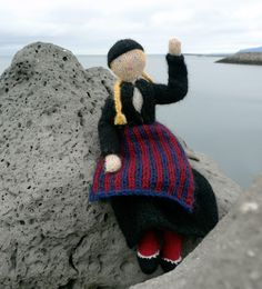 This is Theodóra wearing her traditional Icelandic costume. The pattern is by Helene Magnusson and can be found on her website in English, French and Icelandic. I just finished knitting a Theodóra doll for my daughter.