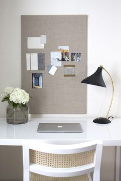 DIY Cork and Linen Inspiration Board – Room for Tuesday – home office organization ideas Diy Organisation, Home Office Organization, Home Office Decor, Home Decor, Office Ideas, Cork Board Organization, Inspiration Boards, Interior Design Inspiration, Interior Design Boards