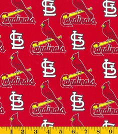 St. Louis Cardinals MLB Red Tossed Cotton FabricSt. Louis Cardinals MLB Red Tossed Cotton Fabric,