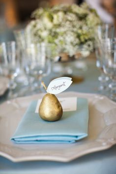 Pear-ific for a winter wedding! Cream, light blue, gold. seating card on pear.