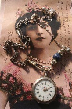 Vintage repurposed old watch, silver pocket watch, unique, sale Pocket Watch Necklace, Silver Pocket Watch, Old Watches, Antique Watches, Antique Silver, Antique Jewelry, Silver Jewelry, Gold Hands, Vintage Rhinestone