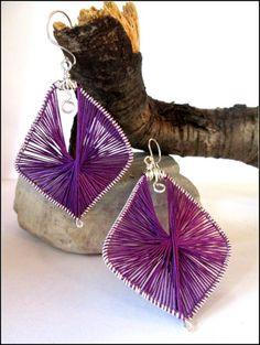 Purple Silk Wrapped Wire Wrapped Sculpted Sterling Silver Earrings | specialtivity - Jewelry on ArtFire