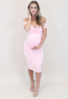 Off the Shoulder Sweetheart Dress with Short Sleeves Sweetheart Baby Shower Dress with Short Sleeves – Sexy Mama Maternity Pink Baby Shower Dress, Maternity Dresses For Baby Shower, Baby Dress, Shower Baby, Maternity Cocktail Dresses, Baby Shower Outfits, Pink Blush Maternity, Baby Showers, Stunning Dresses