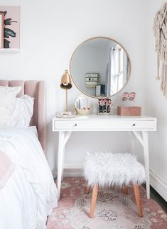 While our apartment is pretty spacious, considering we live in NYC, I do try and make the most out of each room. A few months ago I decided to get rid of my nightstand and replace it with a vanity! Best. Decision. Ever. It makes getting ready so easy! Thank you so much for following along today! You can find me at @teresalaucar for more home decor inspo, beauty tips, and more!  http://liketk.it/2uLaY #liketkit @liketoknow.it
