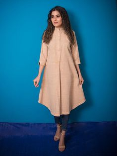 Kurtis Tops Online, Buy Women Kurtas and Tops Collection - Eanythingindian Sleeves Designs For Dresses, Dress Neck Designs, Blouse Designs, Simple Kurti Designs, Kurta Designs Women, Salwar Designs, Stylish Kurtis Design, Kurta Neck Design, Indian Gowns Dresses