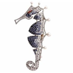 Preowned Sapphire Pearl Diamond Gold Seahorse Animal Pin (235.085 RUB) ❤ liked on Polyvore featuring jewelry, brooches, blue, gold brooch, blue jewelry, sapphire brooch, blue sapphire jewelry and sapphire jewelry