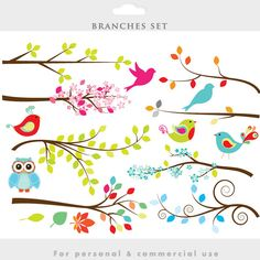 Branch clipart - tree clip art branches whimsical, twigs, cute, birds, bird, leaves, leaf, decorative personal commercial use