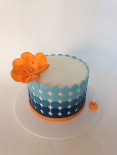 """Simple, last-minute, ombré dots cake - Had about 2 hours to pull this one off. 6"""" round. Used left over blue fondant from the nautical/whale cake and some orange I had from another cake."""