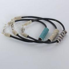 Beadwoven bracelet  Leather strap with toho tube . by Renarta