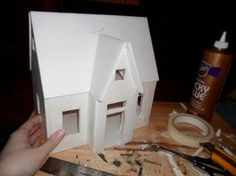 Foam Core Dollhouse WIP 3 by kayanah Diy Dollhouse, Dollhouse Furniture, Dollhouse Miniatures, Putz Houses, Doll Houses, Fairy Houses, Christmas Home, Christmas Crafts, Paper Houses