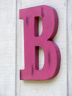 Large Wooden Letters Home Decor Rustic Letter B Baby Room Decor Distressed Painted Hot Pink 12 Tall Wood Name Letters Custom Wedding Gift