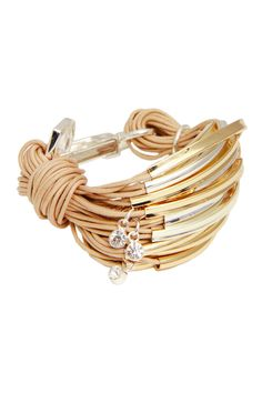 Nude Two-Tone Crystal Charm String Bracelet by Saachi on @HauteLook