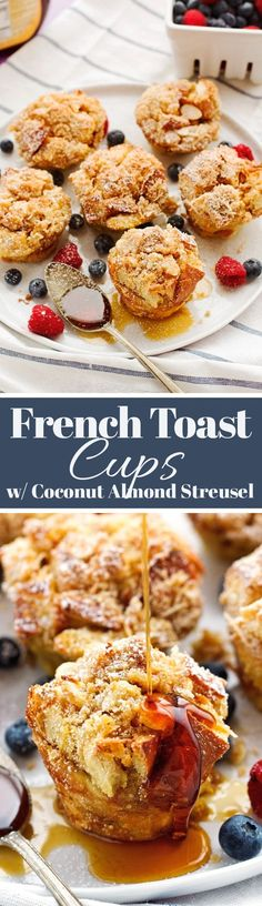 French Toast Cups with Coconut Almond Streusel made with Jimmy John's Day Old French Bread