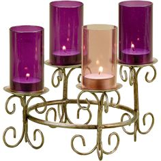 Tealight Advent Wreath - Pin to Win Contest! This beautiful Advent wreath provides the attraction of colored glass chimneys on top of a golden metal design stand. It is a simple, beautiful addition to any home decorating for the holidays. Catholic Advent Wreath, Advent Wreath Candles, Christmas Advent Wreath, Christmas Candles, Christmas Love, Advent Wreaths, Christmas Ideas, Christmas Decorations, Candle Stand