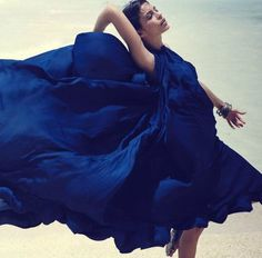 Gorgeous blue dress photographed by Thierry Lebraly