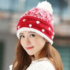 Winter beanie hats with ball on top red and white knit hat for women 182693599677