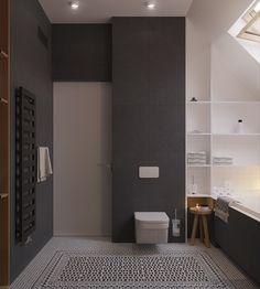 Idea bagno scandinavo moderno in bianco e nero con pavimento in mosaico motivo geometrico - design appartamento elegante e originale