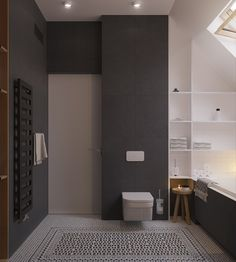 Bagno scandinavo moderno in bianco e nero con pavimento in mosaico motivo geometrico - design appartamento