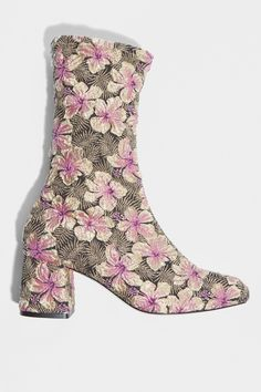 Boots stretch en tissu tapisserie motif floral.