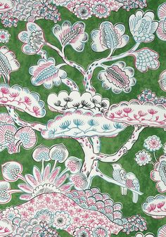 TREE HOUSE, Pink and Green, AT9866, Collection Nara from Anna French Tree House Wallpaper, View Wallpaper, Bathroom Wallpaper, Oriental Wallpaper, Chinoiserie Wallpaper, Chinoiserie Chic, Anna French, Creature Comforts, Nara
