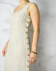 Natural Linen / Tencel / Rayon Blend Sheath Dress with image 7 Simple Kurta Designs, Stylish Dress Designs, Kurti Neck Designs, Kurta Designs Women, Dress Neck Designs, Kurti Designs Party Wear, Designs For Dresses, Stylish Dresses, Blouse Designs
