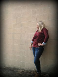 French cycling pullover sweater, this top is just so fun and quirky!$26.00 #weship #ourlittlestoreboutique. Distressed Iris Jeans $31.00. #ootd #shoputah — at Our Little Store Boutique.