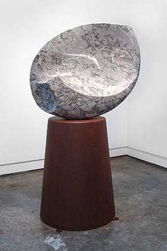 Senden Blackwood,  'takana' 2011,    carved limestone, steel,  155 x 86 x 65cm