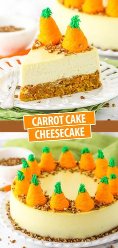 This Carrot Cake Cheesecake is made with a layer of carrot cake on the bottom and vanilla cheesecake on top! It's finished off with piped carrots made from whipped cream for a festive dessert that's perfect for Easter! Carrot Cake Cheesecake, Pecan Cake, Cheesecake Recipes, Easter Cheesecake, Dessert Simple, Easy Desserts, Dessert Recipes, Desserts Ostern, Almond Cakes
