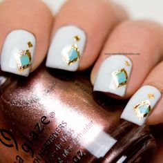 Are you in a mood for changing your current nail design? Do you need some creative inspirations? Do not worry you are on the right place. There are 17 crea Indian Nail Designs, Teal Nail Designs, Teal Nails, White Nails, Diy Nails, Indian Nails, Color Block Nails, Nail Polish Online, Sassy Nails