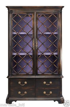 Entertainment Armoire Cabinet Antique Styled French Lattice Doors TV New Frship | eBay