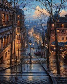 "17.9 k gilla-markeringar, 92 kommentarer - Travel Earth 🌍 (@aroundtheworldpix) på Instagram: ""Rainy streets of Paris. Painting by Evgeny Lushpin #aroundtheworldpix"""