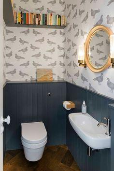 Space Saving Toilet Design For Small Bathroom Small Downstairs Toilet, Small Toilet Room, Downstairs Cloakroom, Guest Toilet, Spare Downstairs Room Ideas, Clockroom Toilet, Wall Hung Toilet, Bad Inspiration, Bathroom Inspiration