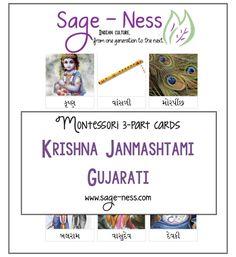 Montessori Inspired Janmashtami 3-part cards Infant Activities, Activities For Kids, Krishna Janmashtami, Montessori, Sage, Culture, Indian, Teaching, Inspired