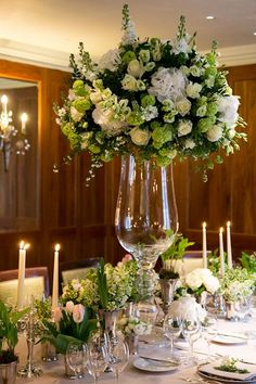 On Flowerona: Beautiful white and green wedding flower designs for and by Fabulous Flowers at Le Manoir aux Quat'Saisons.