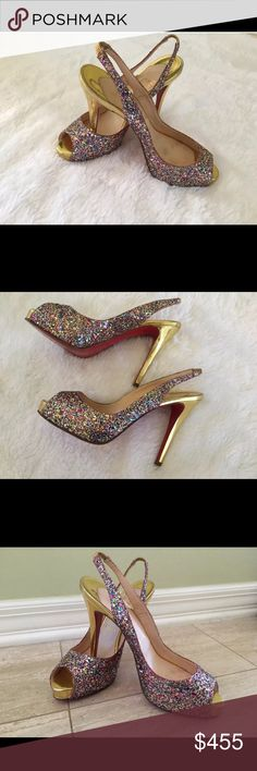 Christian louboutin sparkly authentic heels Christian louboutin sparkly slingback authentic  peeptoe heels Shoes are in very good condition but they do Have some minor wear *PLEASE SEE PICS*  Size 38 Christian Louboutin Shoes Heels