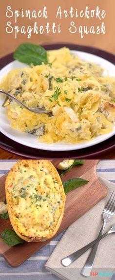 Spinach Artichoke Spaghetti Squash