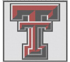 Texas Tech Crochet Pattern Afghan Graph, $3.5 but instead of white outside of the t's it would be black