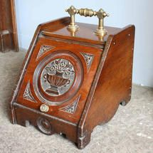 Walnut coal box / scuttle