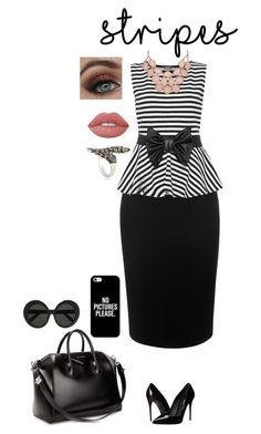 """""""Let Get Down To Business"""" by losingitlora ❤ liked on Polyvore featuring Alexander McQueen, WearAll, Dolce&Gabbana, Givenchy, Linda Farrow, Casetify, Lime Crime, contest, stripes and businessattire"""