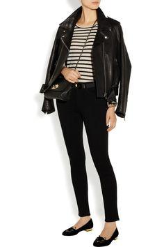 Acne jacket, T by Alexander Wang top, Alexander mcQueen bracelet, Marni belt, Paige jeans, Mulberry bag