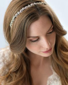 Shop bridal headband designs that are beautifully crafted to accent your wedding day hairstyle. Headbands are made with Swarovski crystals, pearls and rhinestones in silver, gold and rose gold metal finishes. Simple Wedding Hairstyles, Bride Hairstyles, Vintage Hairstyles, Down Hairstyles, Wedding Headband, Bridal Headbands, Wedding Hair Inspiration, Headband Styles, Bridal Hair Accessories