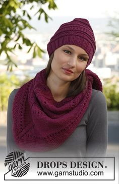 "Knitted DROPS hat and shawl with simple textured pattern in ""Karisma"". ~ DROPS Design"